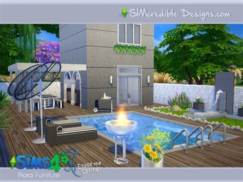 furniture by simcredible custom content the sims resource flora outdoor set by simcredible design