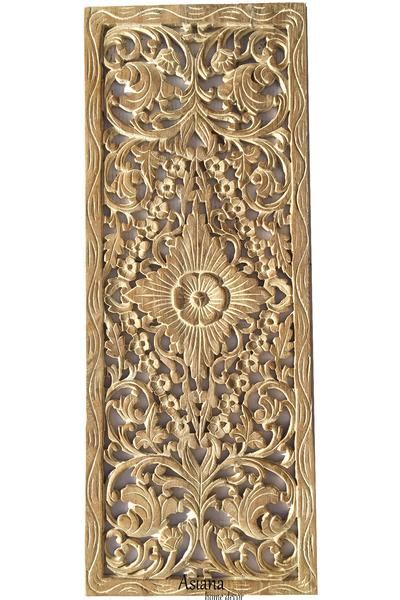 tropical floral wood carved wall panel unique rustic home