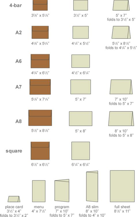 Place Card Template Dimensions by Stationery Sizes