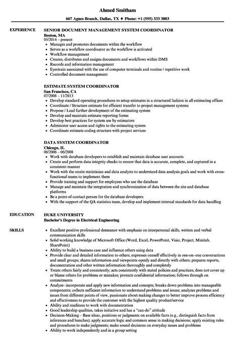 workflow coordinator description system coordinator resume sles velvet