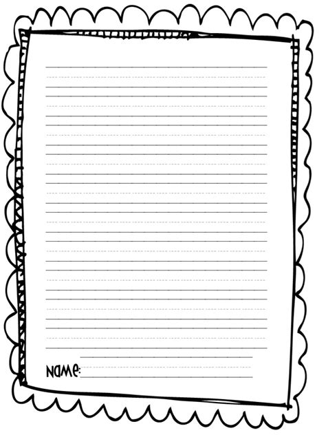 printable narrative writing paper printable writing paper for 2nd graders kindergarten