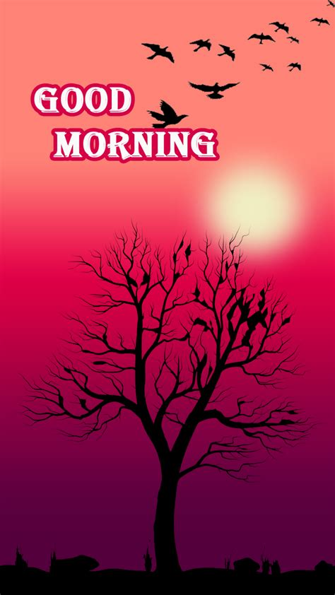 morning quote freeproducts pink morning card with birds and tree freeproducts