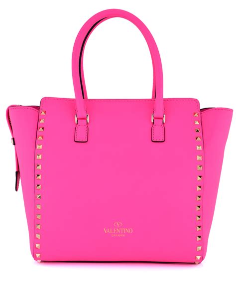 valentino pink rockstud handle bag in pink lyst