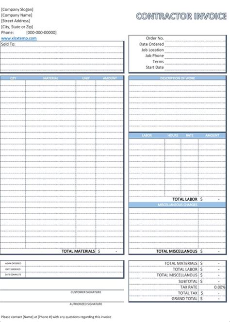 Contractor Invoice Template Excel by 20 Free Contractor Invoice Templates Word Excel Format