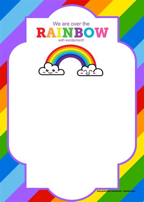 rainbow invitation card template free printable rainbow invitation template thank you