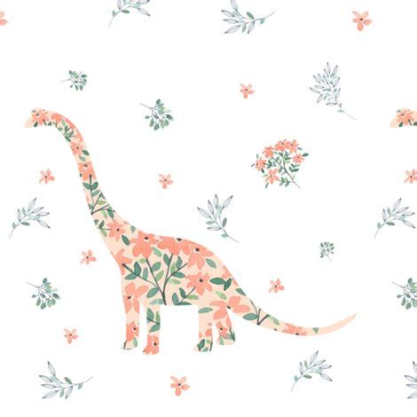 floral dino fabric shopcabin spoonflower