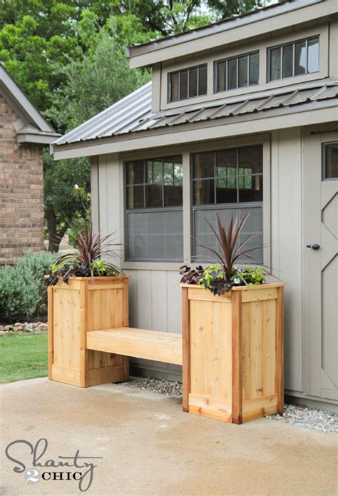 bench with planter box plans diy planter box bench shanty 2 chic