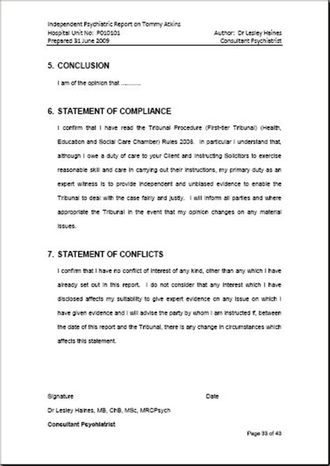 conclusion template for report shrinkwork independent psychiatrist and expert witness