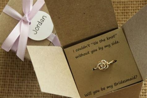 bridal shower gifts from of honour tie the knot ring will you be my bridesmaid gift of