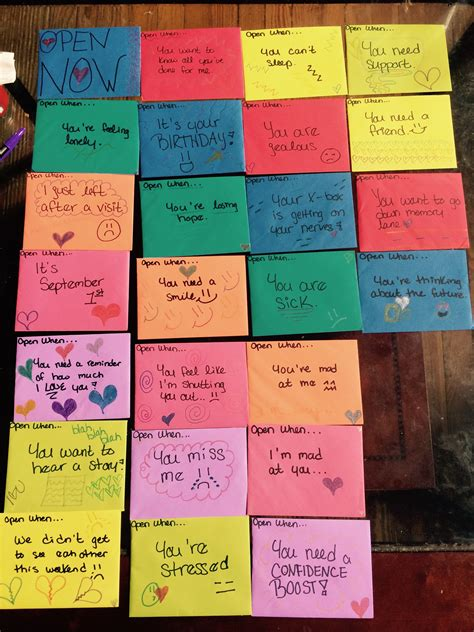 i did the whole quot open when quot letters for distance