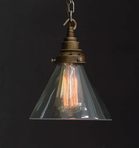 Clear Glass Pendant Light Shade Es Clear Glass Cone Shade Industrial Pendant Vintage Lighting