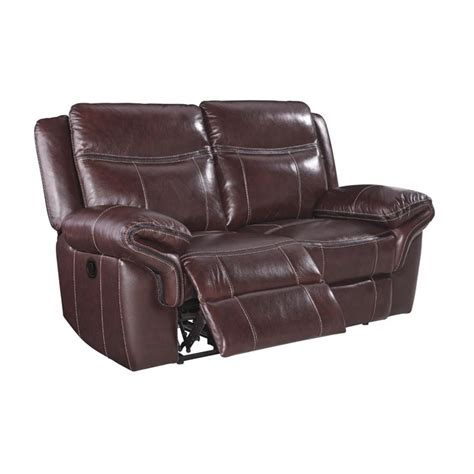 ashley leather loveseat recliner ashley zephen reclining leather loveseat in mahogany