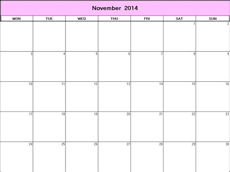 printable monthly calendar november 2014 november 2014 printable blank calendar