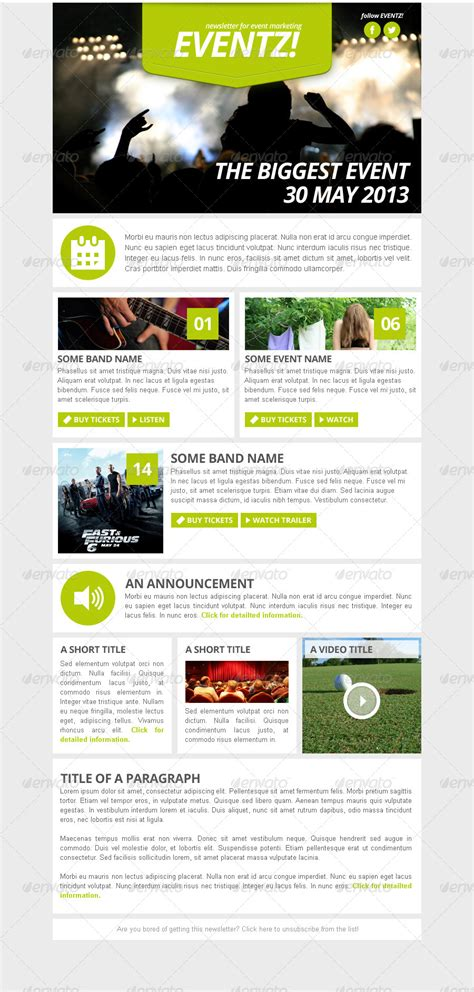 eventz event marketing newsletter template by vizivig