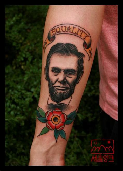 lincoln tattoo arm realistic flower lincoln by seoul ink