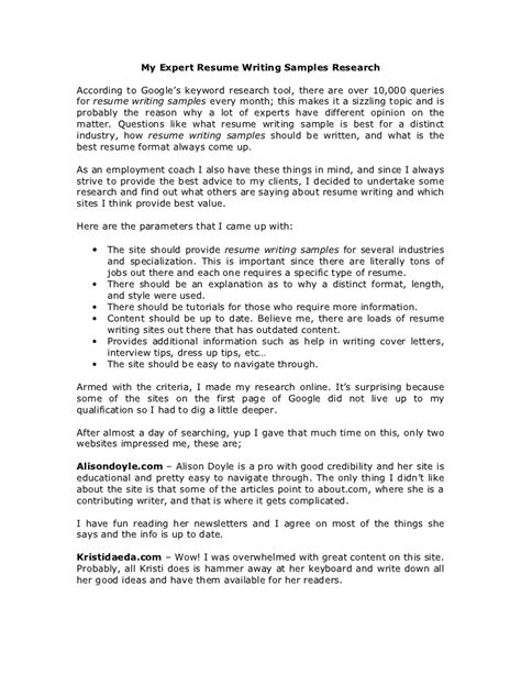 Resume Writing Experts My Expert Resume Writing Sles Research