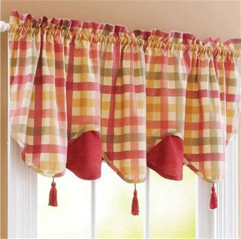 Red green yellow tan country plaid kitchen curtains valance or tiers