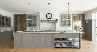 shaker kitchens devol handmade painted english white kitchen with oak island from harvey jones