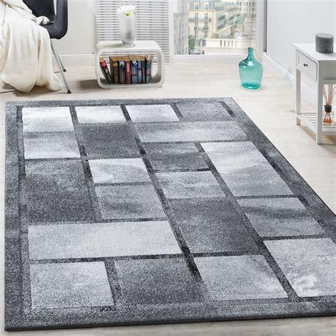 classic designer rug high effect pile chequered - Teppich Grau