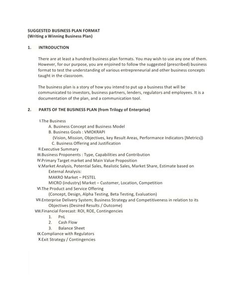 format business plan nederlands suggested business plan format
