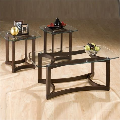 3 glass coffee table and end table set 107g 107b kit
