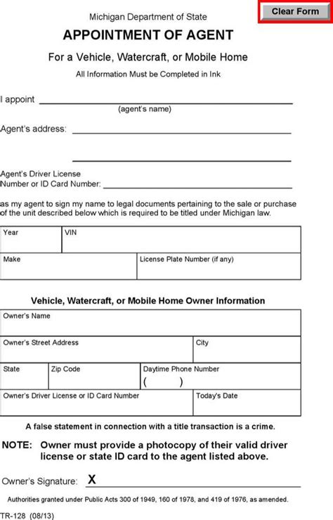 Michigan Power Of Attorney For A Vehicle Watercraft Or Mobile Home Form Download Free Power Of Attorney Template Michigan