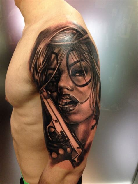 tattoo of woman new school style colored shoulder of clown