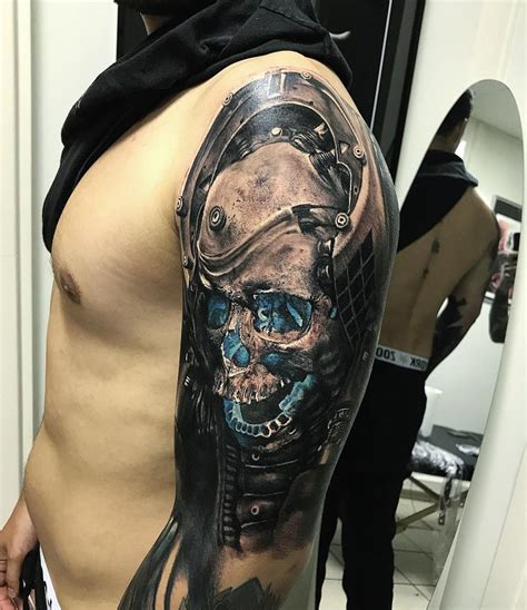 futuristic tattoo designs futuristic skull mens arm best