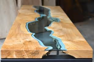 gorgeous glass river inlays breathe life into sustainably sourced wood furniture river