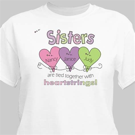 Heart Strings Personalized Sisters T shirt   GiftsForYouNow