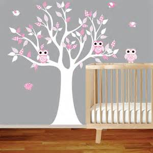 Wall Stickers For Girls Nursery Vinyl Wall Decal Stickers White Pink Owl Tree Set Nursery