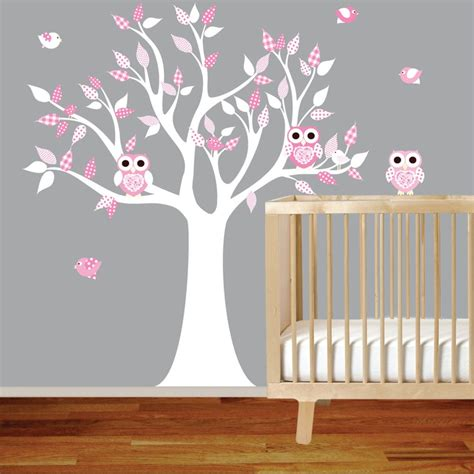 Vinyl Wall Decal Stickers White Pink Owl Tree Set Nursery Nursery Owl Wall Decals