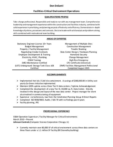 Sle Resume For Facilities Technician Facilities Maintenance Resume Sle 28 Images Call