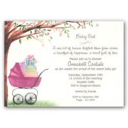 Foliage girl carriage baby shower invitations clearance paperstyle