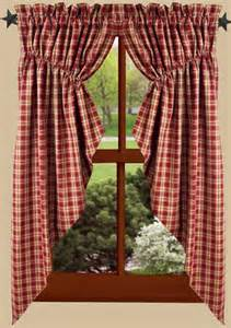 63 Swag Curtains Providence Plaid Barn Red Gathered Window Curtain Swag 72