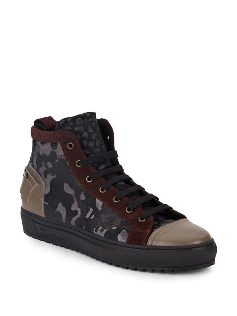 galliano sneakers galliano mixed media camo print sneakers in green for