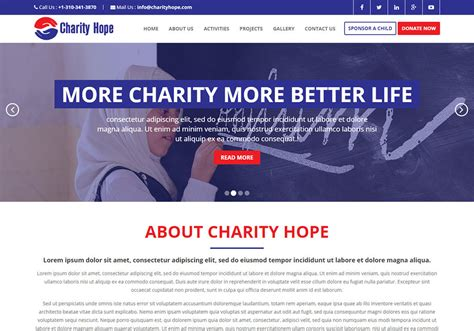 Charity Website Template Free Download Bootstrap Charity Hope Donation Website Template