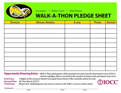 pledge forms template walk a thon pledge sheet search pta stuff