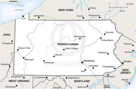 map of penn vector map of pennsylvania political one stop map