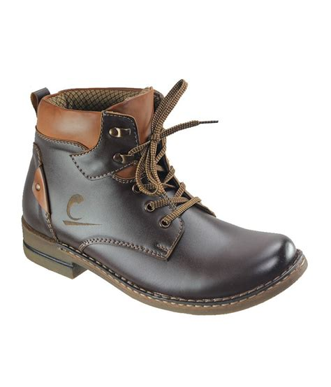 dziner brown faux leather boots for price in india