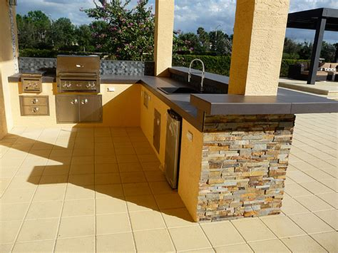 Kitchen Mobile Island Stacked Stone Amp Stainless Steel Modern Outdoor Kitchen