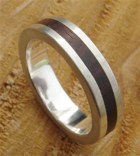 flat profile wood inlay silver wedding ring
