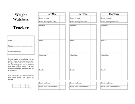Weight Watchers Tracker Printable