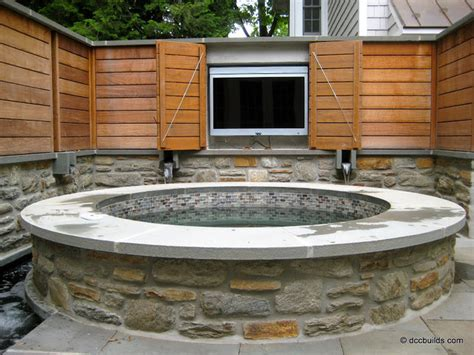 Veneer Wainscot by Rustic Pool In Elverson Limestone Capstones Mortared