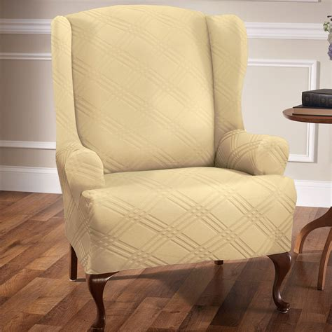 wingback sofa slipcover double diamond stretch wing chair slipcovers