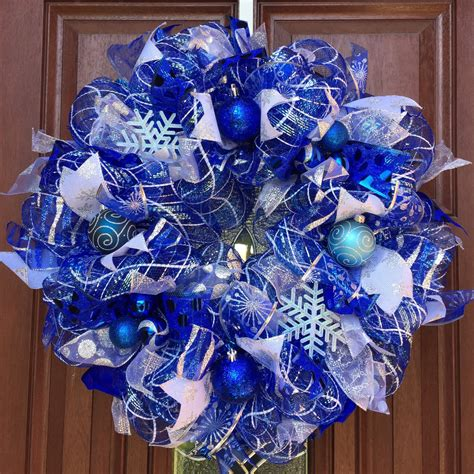 deco mesh winter wreath christmas wreath blue christmas