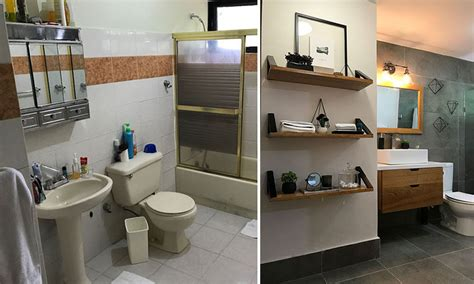 wohnzimmer 90er before after this 90 s bathroom was given an updated