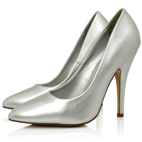 Silver Shoes by Silver Leather Style Point Toe Shoes Buy Silver Leather