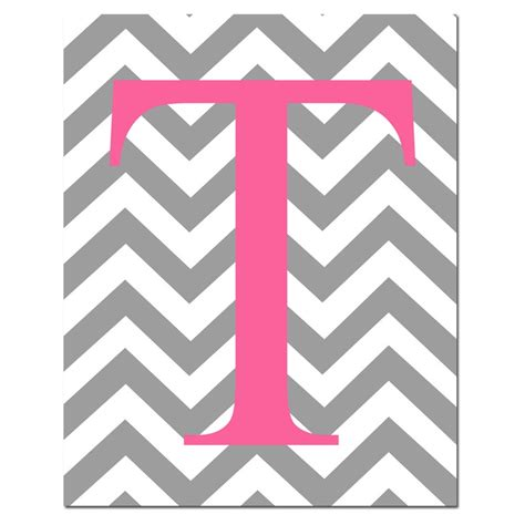 printable grey letters chevron monogram initial letter nursery art 8x10 print