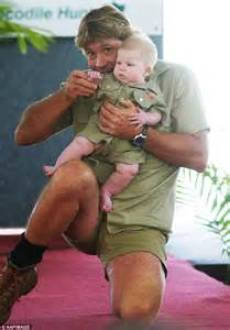 Tender moments steve irwin cuddles baby bob for a photoshoot in 2004
